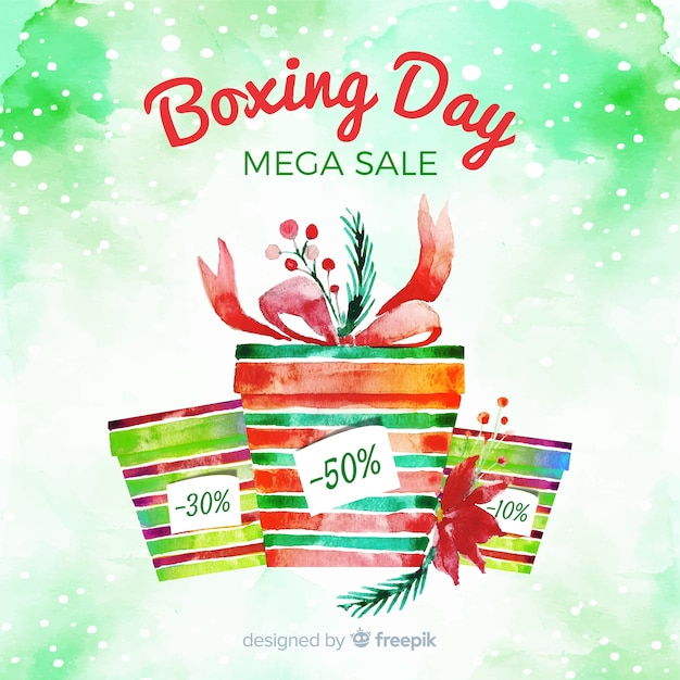 Boxing day sale in watercolor Free Vector