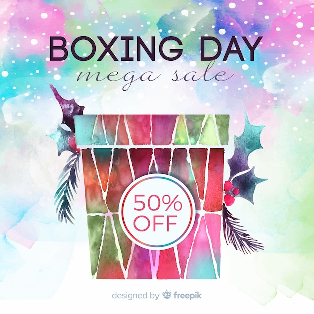 Boxing day sale with present Free Vector