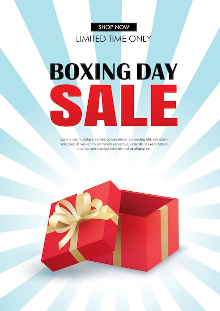 Boxing day sale with red gift box advertising poster template. Premium Vector