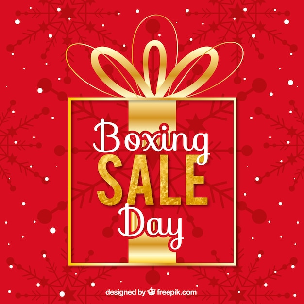 boxing day sale written on a big gift box vector free download