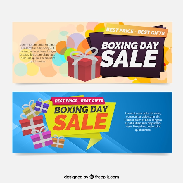 Boxing day sales banners with gifts