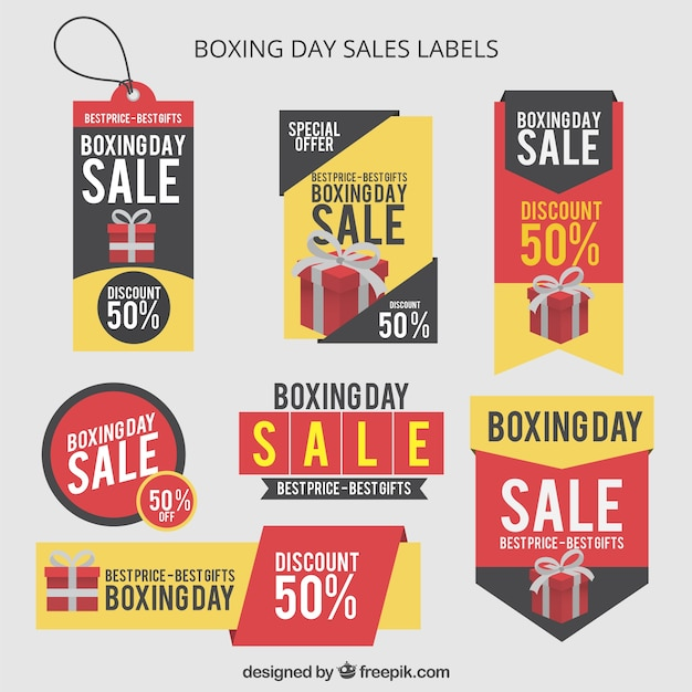Boxing day sales labels Free Vector