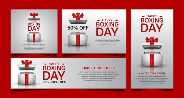 День подарков установить вектор дизайн для продажи баннер шаблон Premium векторы