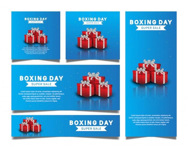 День подарков установить вектор дизайн с красной подарочной коробке для продажи баннер шаблон Premium векторы