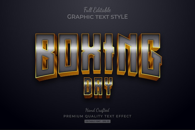 Boxing day silver gold editable text style effect premium Premium Vector