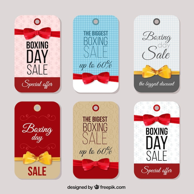 Boxing day tags Premium Vector