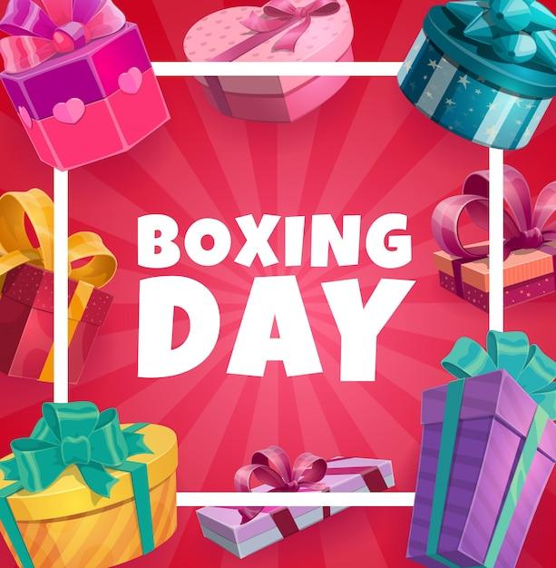 Коробка день векторной рамки с подарочными коробками, плакат Premium векторы