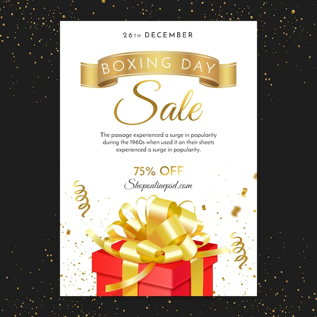 Boxing day with gift and ribbons Free Vector