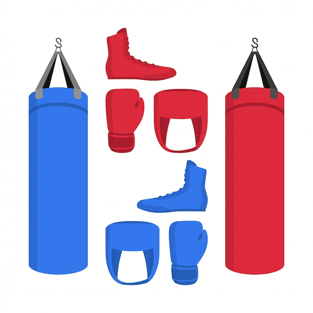 Boxing equipment set of icons. sport collections of boxer shoes, punching bag, gloves in red and blue. Premium Vector