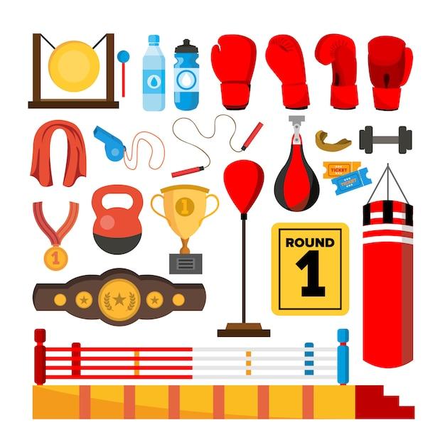 Boxing equipment tools set Premium Vector