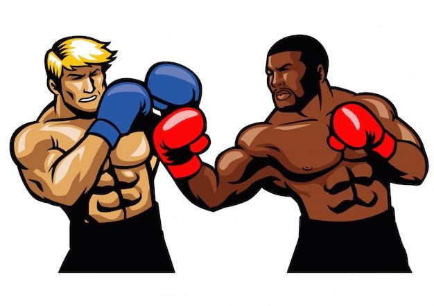 Boxing fight Premium Vector