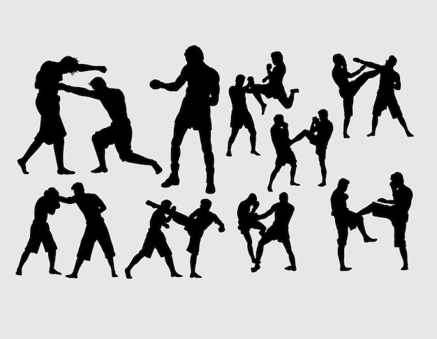 Boxing and fighting training sport silhouette Premium Vector