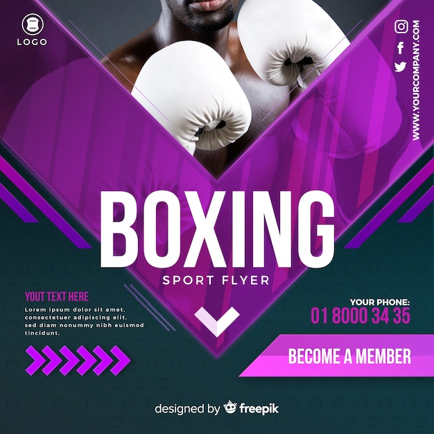 Boxing flyer Free Vector