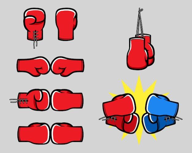 Boxing glove cartoon hand collection Premium Vector