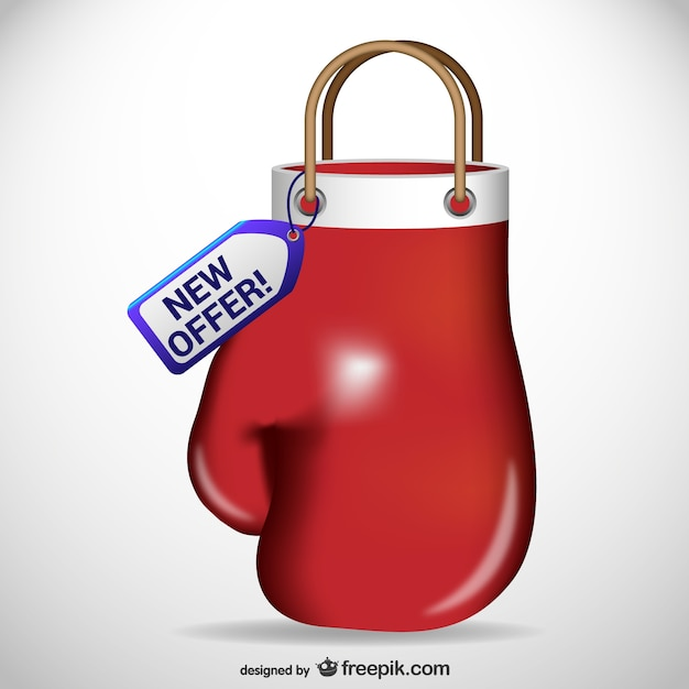 Boxing glove shaped shopping bag