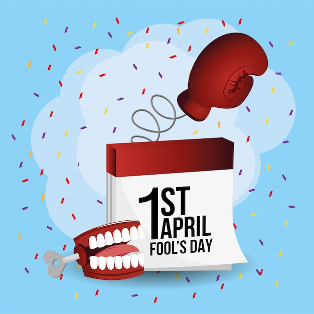 Boxing glove with calendar a fanny teeth Premium Vector