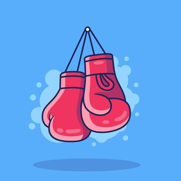 Boxing gloves  icon illustration. sport boxing icon concept isolated on blue background Premium Vector