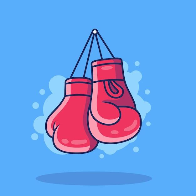 권투 장갑 아이콘 그림입니다. 파란색 배경에 고립 된 스포츠 권투 아이콘 개념 프리미엄 벡터