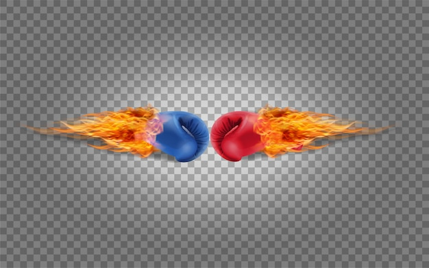 Boxing gloves red and blue in fire hitting together Premium Vector