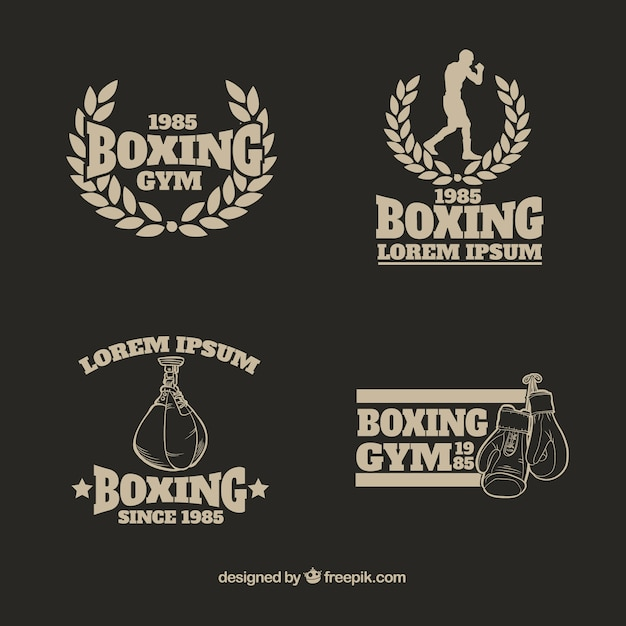 Boxing gym logo collection Free Vector