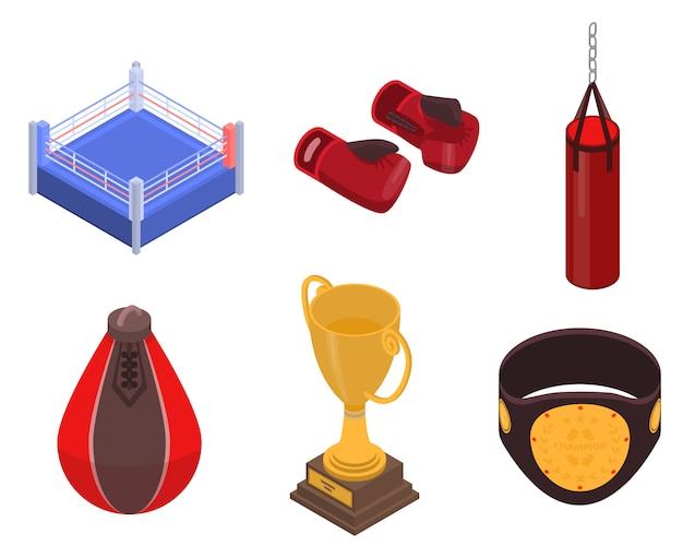 Boxing icons set, isometric style Premium Vector