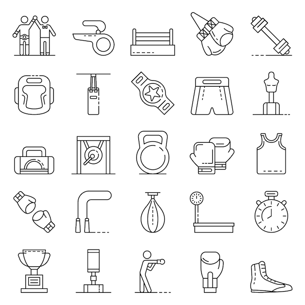 Boxing icons set, outline style Premium Vector