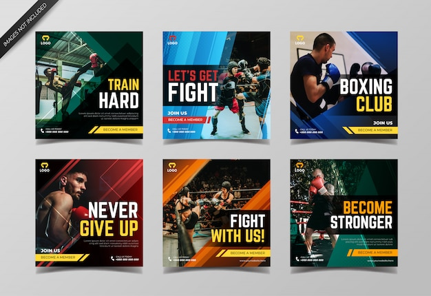 Boxing instagram post collection template Premium Vector