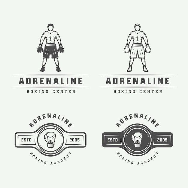 Boxing logo badges Premium Vector