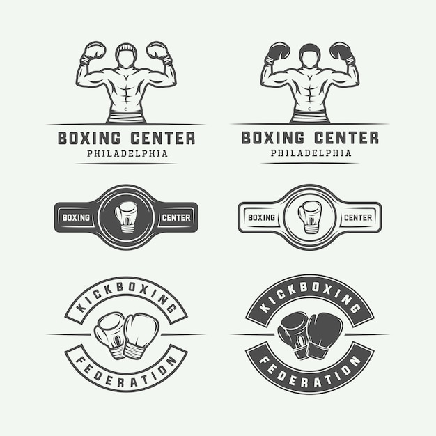 Boxing and martial arts logo badges and labels in vintage style Premium Vector