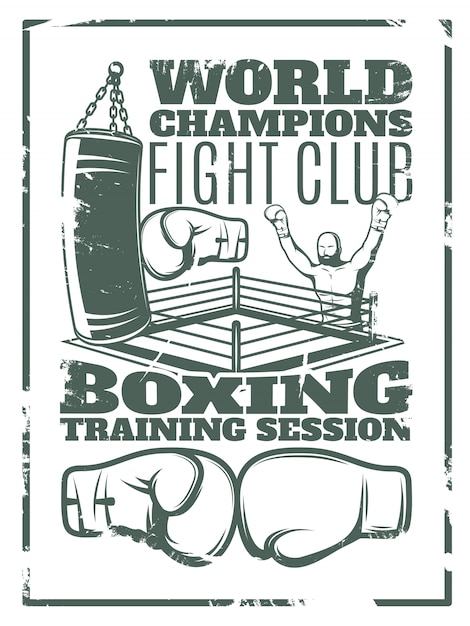 Boxing monochrome worn print with fighter punching bag ring and gloves Free Vector