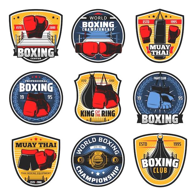 Boxing muay thai icons, kickboxing fighter arts Premium Vector