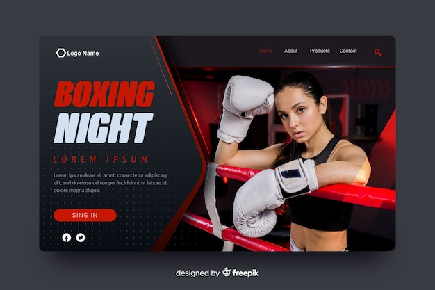 Boxing night sport landing page Free Vector