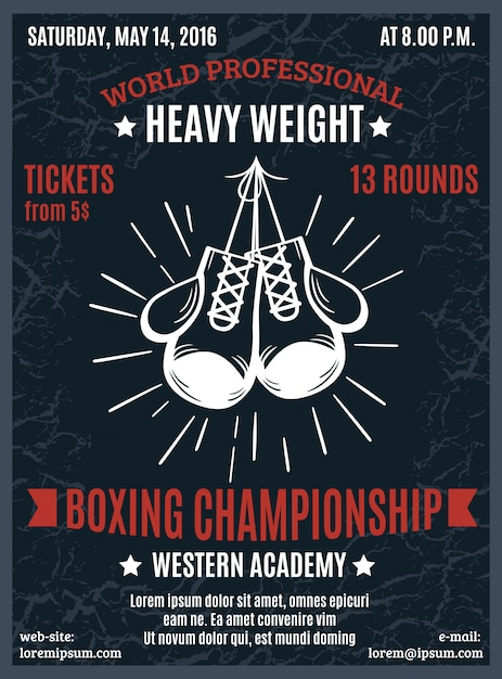 Boxing professional championship poster Free Vector