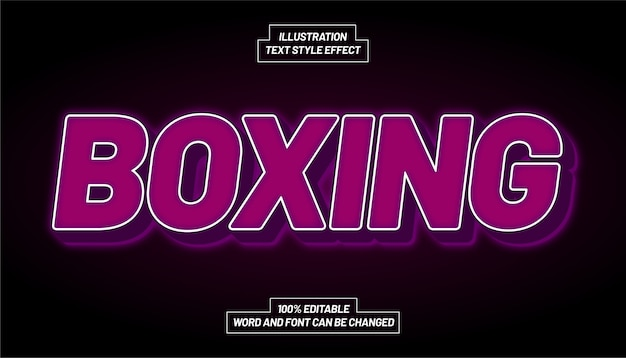 Boxing purple text style effect Premium Vector
