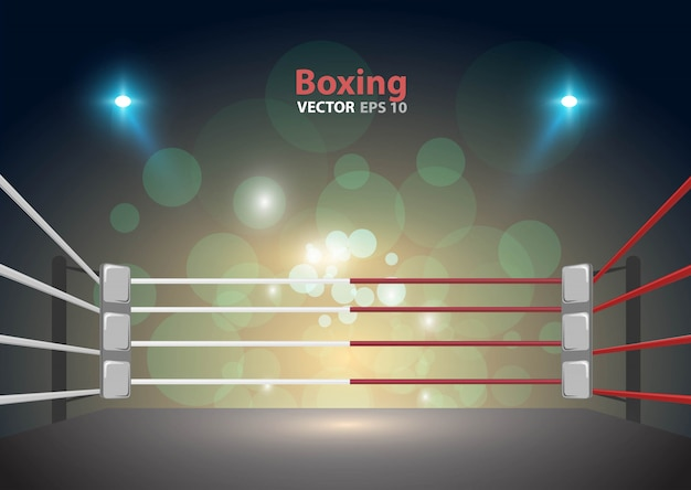 Boxing ring arena and floodlights vector design bright stadium arena lights red blue. Premium Vector