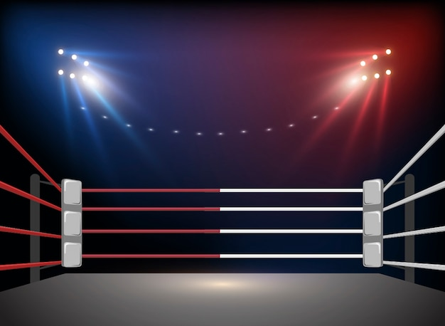 Boxing ring arena and floodlights Premium Vector