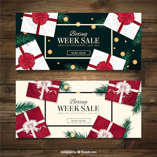 Boxing week banners of elegant gifts