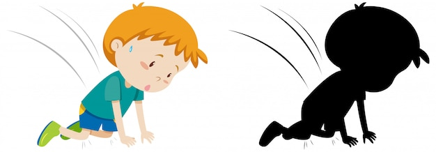 Boy accident fall drown on the fall in colour and silhouette Free Vector