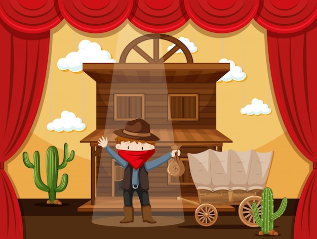 Boy acting on stage with cowboy scene Premium Vector