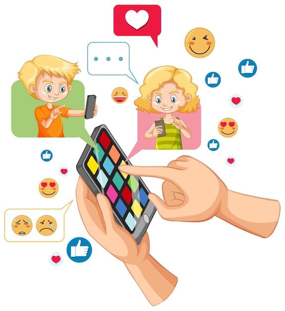 Мальчик и девочка болтают в смартфоне с темой значка социальных сетей, изолированной на белом фоне Бесплатные векторы
