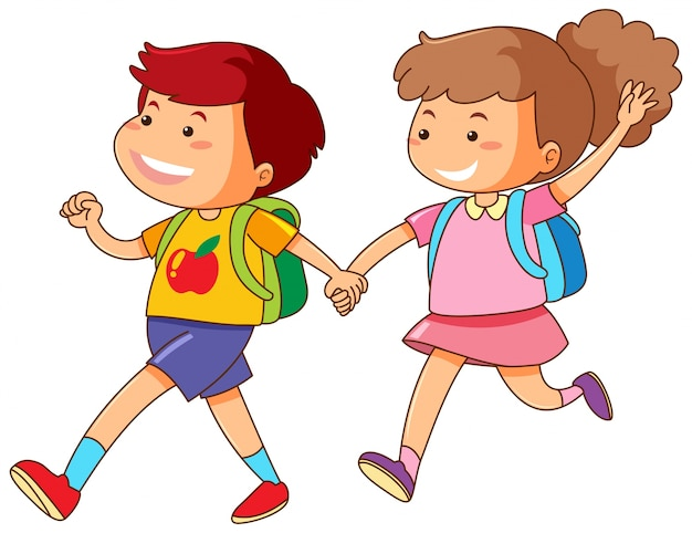 Boy and girl holding hands Free Vector
