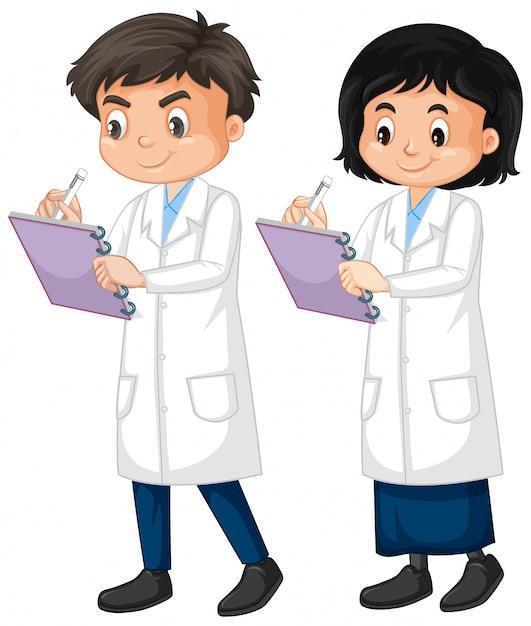 Мальчик и девочка в халате, написание заметки на белом Бесплатные векторы
