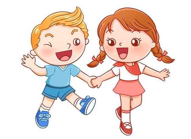 Мальчик и девочка смеются и держатся за руку Premium векторы