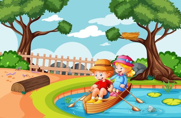 男の子と女の子が自然公園でボートを漕ぐ Premiumベクター