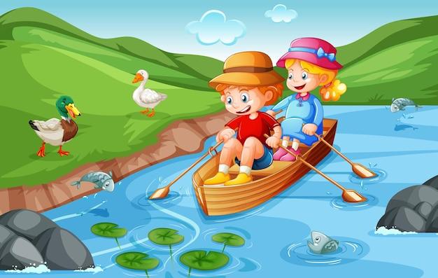 男の子と女の子が自然公園でボートを漕ぐ 無料ベクター