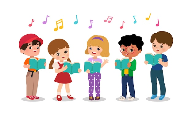 Мальчик и девочка поют вместе. школьный детский хоровой коллектив. детские картинки. плоский мультяшный стиль изолированы. Premium векторы
