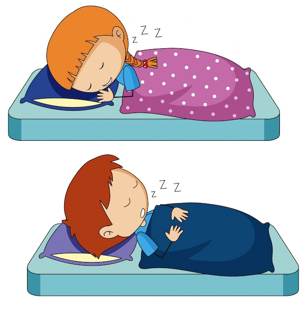 Boy and girl sleeping on bed Vector | Free DownloadNaptime Clipart