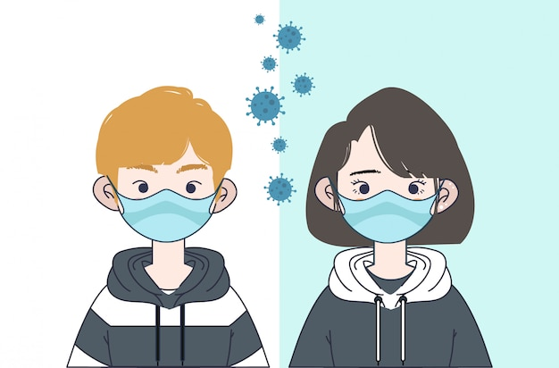 boy-and-girl-with-mask-illustration-coro