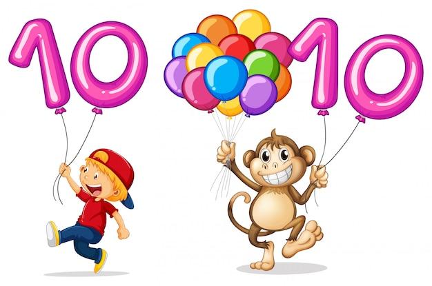 Мальчик и обезьяна с воздушным шаром для номера 10 Бесплатные векторы