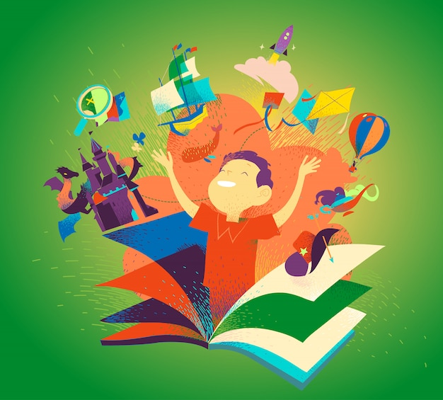 Boy appearing from a book. concept of reading books being an adventure. kids imagination, tales, stories, discovery. children literature colorful bookcover. Premium Vector